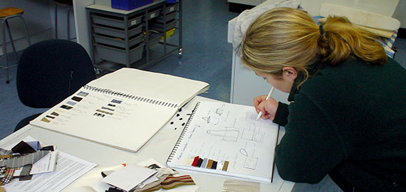 Student designing a project